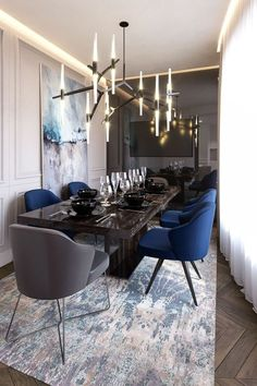 Get inspired by these dining room decor ideas! From dining room furniture ideas, dining room lighting inspirations and the best dining room decor inspirations, you'll find everything here! Luxury Dining Room, Dining Room Sets, Dining Room Design, Dining Tables, Dining Room Modern, Dining Suites, Transitional Dining Rooms, Contemporary Living Room Decor Ideas, Dark Grey Dining Room