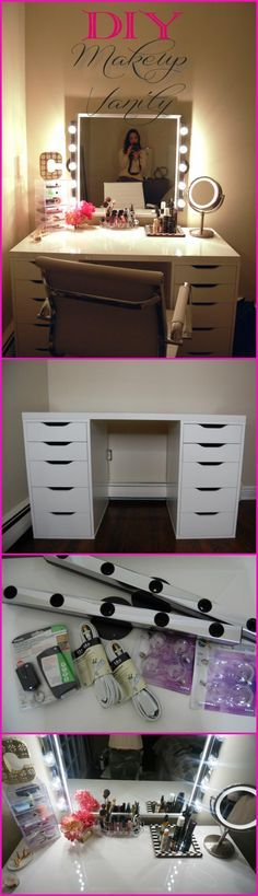 DIY einfach, aber stilvoll Make-up Vanity: – 20 + DIY Make-up Vanity Tutorials -… DIY Einfache aber stilvolle Make-up Vanity: – DIY Vanity Tutorials Tutorials – DIY … – Diy Makeup Vanity Table, Make Up Desk Vanity, Vanity Redo, Makeup Vanities, Makeup Vanity Mirror, Diy Bathroom Vanity, Vanity Ideas, Makeup Desk, Vanity Lighting