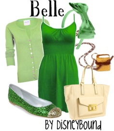 perfect for st patrick's day..you definitely wouldn't get pinched. But I always think of belle in either blue or yellow. This is more tinker bell-ish
