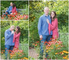 Engagement photo session at The University of Kentucky Arboretum in Lexington, Kentucky. Southern Weddings, Kentucky Wedding Photographer, Lexington Kentucky Wedding Photographer, Park, Garden, Flowers, Summer, Bench, Romantic, Love. Kevin and Anna Photography www.kevinandannaweddings.com