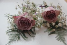 Purple wedding, Memory lane rose, gypsophelia, buttonholes
