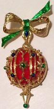 Vtg Rhinestone Christmas Ball Ornament Brooch Pin Articulated Ribbon Bow Gerrys