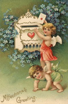 cherubs at the mailbox - letters and cards are always wonderful