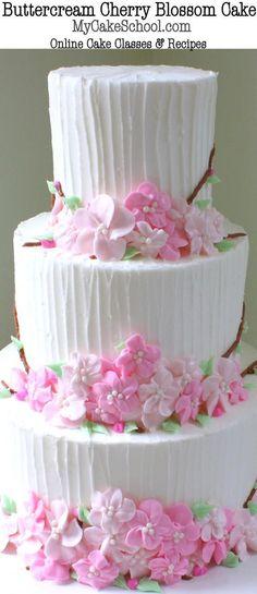 Beautiful Buttercream Cherry Blossom Cake Video Tutorial by http://MyCakeSchool.com! (member section) Online Cake Decorating Tutorials & Recipes!