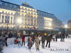 Ice-skating on the christmas markets in winter time, Carlton Hotel, The Old Time, Bratislava