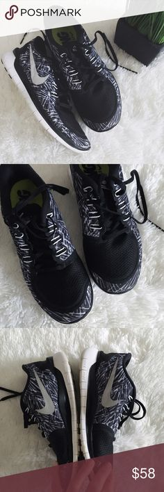 nike • free 5.0 barefoot ride •Nike free 5.0 barefoot ride •black + white + silver  •these are the shoes you don't wear socks with - so comfortable  •size: 8.5  •condition: in great condition. Looks like gum had gotten stuck on the bottom of one shoe, and dirt set in. See photos. Otherwise in great shape! No box!  •please see all pics, read description, and ask questions before purchasing   •no trades• Nike Shoes Sneakers
