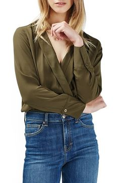 Topshop Faux Wrap Shirt Bodysuit available at #Nordstrom