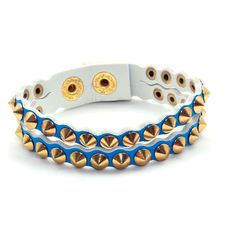 Bracelete Duplo Spikes Azul - Nineteen