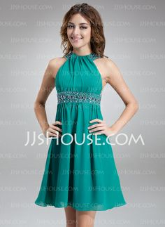 Cocktail Dresses - $109.99 - A-Line/Princess Scoop Neck Short/Mini Chiffon Cocktail Dress With Ruffle Beading (016008542) http://jjshouse.com/A-Line-Princess-Scoop-Neck-Short-Mini-Chiffon-Cocktail-Dress-With-Ruffle-Beading-016008542-g8542