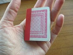 Tiny Playing Card Book....this is small enough to put in my purse so my kids have something to doodle on