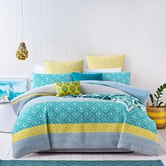 Welcome a bright burst of colour into your bedroom with the stunning Jatani quilt cover from Mercer + Reid. An exquisite collaboration of pattern and colour have combined to create a textured, quilted design that will add a touch of style to your home. Extremely versatile, this quilt cover is perfect for use with a quilt in the cooler months or on its own in summer for a lightweight alternative. Pair with coordinating standard and European pillowcases and stunning embroidered decorative ...