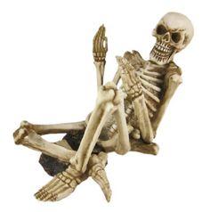 Gothic Grinning Skeleton Wine Bottler Holder  -  material: Resin  -  color: Bone  -  $37.00  -  hilarious!