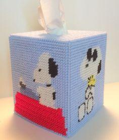 Snoopy Tissue Cover  handmade Boutique size canvas & acrylic yarn  | eBay