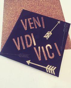 Grad Cap Design// Grad Cap Decor Veni Vidi by HadleyRoweDesigns Nursing School Graduation, Graduation 2016, Graduation Cap Designs, Graduation Cap Decoration, Grad Pics, Graduation Pictures, Abi Motto, Grad Hat, Veni Vidi Vici
