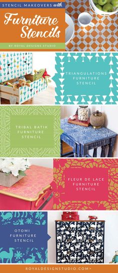 Open yourself up to pattern and stencil designs onto your dresser or cabinet doors using smaller scale furniture stencils!To save 20% onFurniture Stencilsnow through Sunday 2/21/16 simply use the codeFURNITURE20during checkout. (IKEA hack, furniture upcycle, painted furniture, diy decor, painted decor, furniture inspo, interior design, diy furniture, chalk paint, annie sloan, decorating ideas)