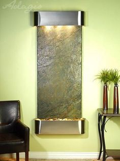 Water Feature Wall Mount Vertical Inspiration Falls Green Slate Stainless Steel Rounded IFR