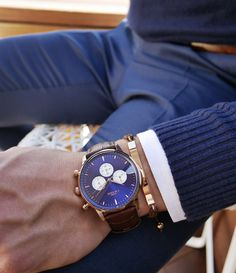 The Montpellier blue chronograph paired with a Brown braided wool plate bracelet.⌚️ #grandfrankwatches www.Grandfrank.com