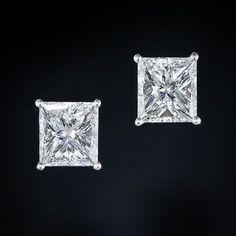 3.02 Carat Princess-Cut Diamond Ear Studs - 20-91-663 - Lang Antiques