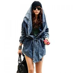Women's Denim Trench Coat Hoodie Hooded Outerwear Jeans Jacket Coat on dresslily.com
