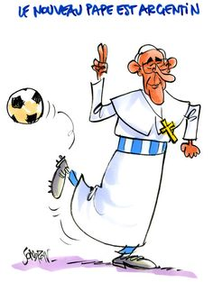 Papa Francisco fútbol caricatura 2014