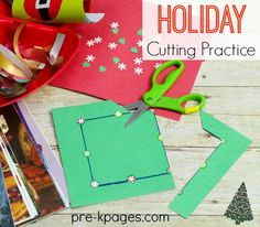 Holiday Scissor Skills Cutting Practice. Learning how to cut is fun with this hands-on cutting station!