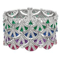 Bulgari sapphire, emerald and diamond cuff