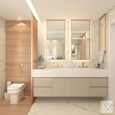 The couple's bathroom! With contemporary style, combining marble, wood, nude . - Design Cointrend News Bathroom Design Luxury, Modern Bathroom Design, Home Room Design, House Design, Couples Bathroom, Dream Bathrooms, Bathroom Furniture, Bathroom Inspiration, Home Decor