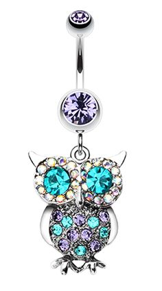 Jeweled Sparkling Owl Dangle Belly Button Ring - 14 GA (1.6mm) - Fuchsia - Sold Individually