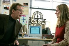 "Alan Rickman and Laura Linney in ""Love Actually."" A delightful romantic comedy. Alan Rickman, Love Actually 2003, Richard Curtis, Laura Linney, Bridget Jones, Emma Thompson, Fandom Crossover, Chick Flicks, Make You Cry"