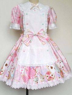Sweet Printed Apron Rococo Lolita Dress