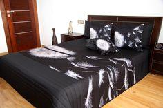 3D čierny prehoz na posteľ s púpavou