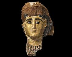 Part of cartonnage mask placed over the mummy of a woman. Roman Period (30 BC - 395 AD), possibly from excavations in the Fayum