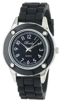 """Breda Women's 2282_black """"Whitney"""" Rhinestone Jelly Sport Watch Breda. $23.10. Black dial with silver hour markers and hands. Black bezel with 4 clear rhinestone accents. Highest standard Quartz movement. Water-resistant - not recommended to take into deep water or shower. Black silicone band with silver buckle. Save 30%!"""