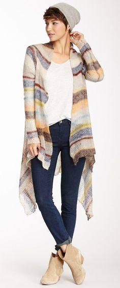 Striped Open Knit Cardigan