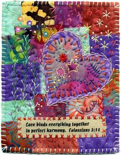 Always loved crazy quilting!Baumcat: Love binds together Crazy Quilting, Patchwork Quilting, Crazy Quilt Stitches, Crazy Quilt Blocks, Quilt Stitching, Art Quilting, Quilting Projects, Quilting Designs, Sewing Projects