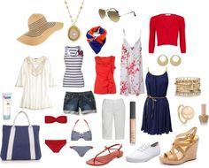 Red white and blue summer capsule wardrobe