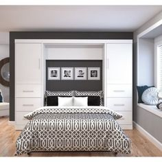 Bestar Nebula Murphy Wall Bed with Attached 3-Drawer and 1-Door Storage Unit, Antigua