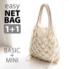 [DIY] 1+1 미스티코티타 니팅가방 - 리본이지네트백 Ribbon Easy Net Bag - 미스티코티타 MystiKotita Diy Net Bags, Diy Bags Purses, Diy Crochet, Crochet Crafts, Macrame Patterns, Crochet Patterns, Crochet Christmas Gifts, Diy Tote Bag, Macrame Bag