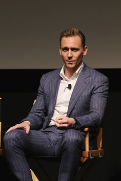 Actor Tom Hiddleston speaks onstage after the Tribeca Film Festival screening and panel of AMC's The Night Manager at SVA Theater on April 15 2016 in. Tom Hiddleston Loki, Thomas William Hiddleston, Loki Laufeyson, Chris Hemsworth, Night Manager, Tribeca Film Festival, My Tom, Man Thing Marvel, Marvel Actors