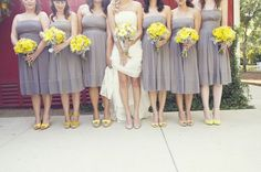 These dresses are ugly but they're kind of along the lines of the grey with the mustard yellow shoes.