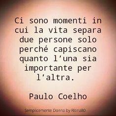 Ci sono momenti in cui la vita separa due persone solo perché capiscano quanto l'una sia importante per l'altra. Paulo Coelho
