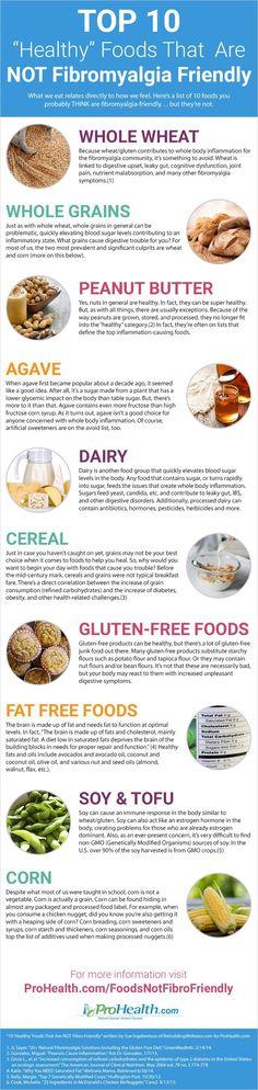 "Infographic: 10 ""Healthy"" Foods That Are NOT Fibromyalgia Friendly #Fibromyalgia"