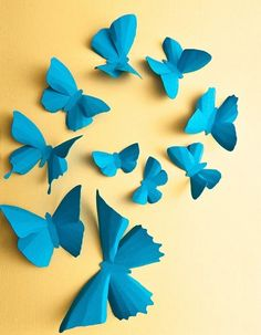 "Hmm...wonder if the Etsy shop owner would also do these in gray, white or yellow?  Or maybe I should get a few in red for an unexpected ""pop"" of color.  I think a mix of a couple of each color could be a nice accent wall feature.  3D Wall Butterflies 10 Turquoise Blue Butterfly by hipandclavicle, $20.00"