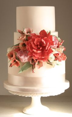 Gorgeous red toned floral wedding cake!!!