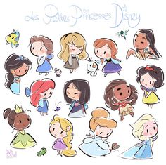 chibi disney princesses by david gilson Kawaii Disney, Chibi Disney, Art Disney, Disney Kunst, Disney And Dreamworks, Disney Ideas, Disney Artwork, Punk Disney, Cute Disney Drawings