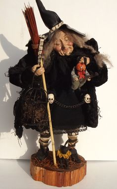 "Handmade Witch & Pumpkin Head ""Little Jack"" By Kim Sweet~Kim's Klaus~GoTcHa"