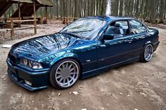 Dunkelblau mixed with lagunengrun BMW e36 coupe on 90's Kailine cult classic super rare wheels