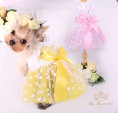Small Dog Clothes Spring And Summer Pet Dress Cat Skiet Cute Bowknot Puppy Clothing Wedding Dress For Dogs Pink Yellow