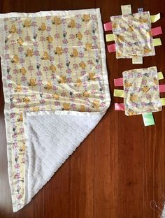 """Baby blanket 20"""" x 40"""" / mini blankets with ribbons set of two by GeeGeeGoGo on Etsy"""
