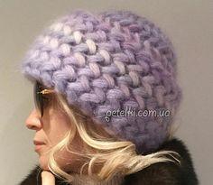 Шапочка объемным узором. Схема, МК, видеоурок Knitted Hats, Crochet Hats, Fingerless Mittens, Mc Video, Elsa, Wool, Sewing, Knitting, Womens Fashion